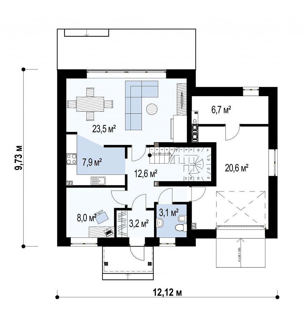 Первый этаж 58,5(86,0м²) дома Z43