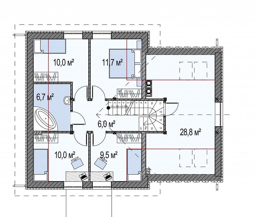 Второй этаж 41,7(53,2м²) дома Z43