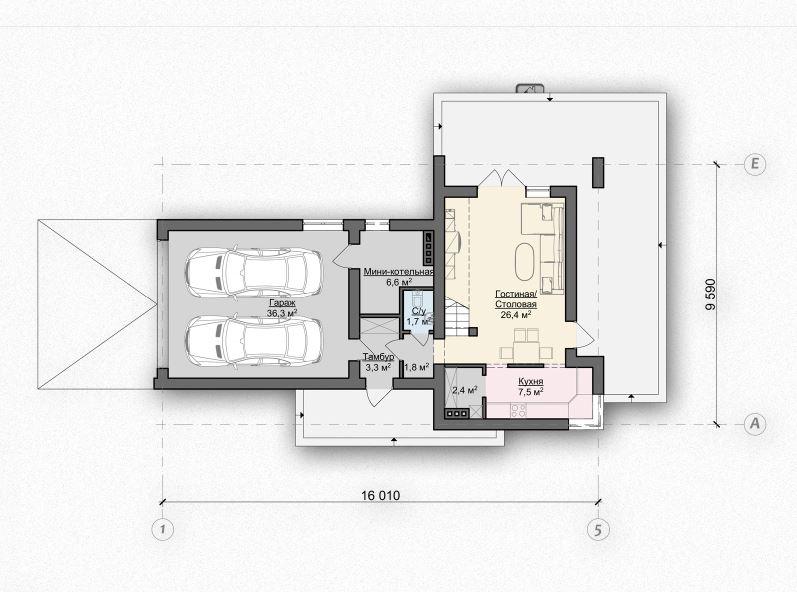 Первый этаж 46,8(91,8м²) дома Zx41