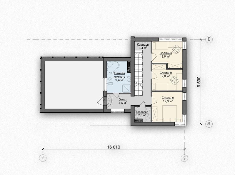 Второй этаж 48,8м² дома Zx41