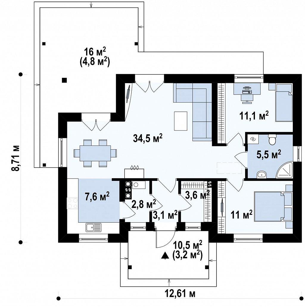 Первый этаж87,2 м² дома Z136