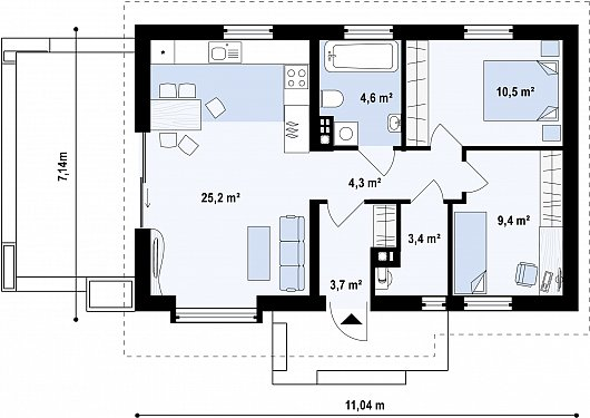 Первый этаж дома Z139 v2