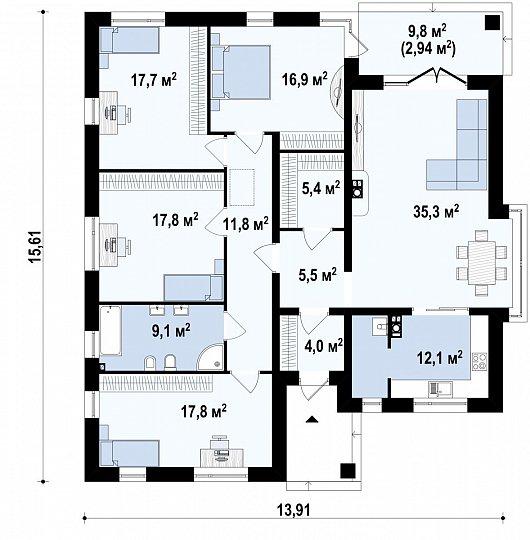 Первый этаж 156,2 м² дома Z200 BG