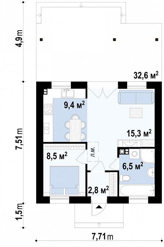 Первый этаж 52,2 м² дома Z60