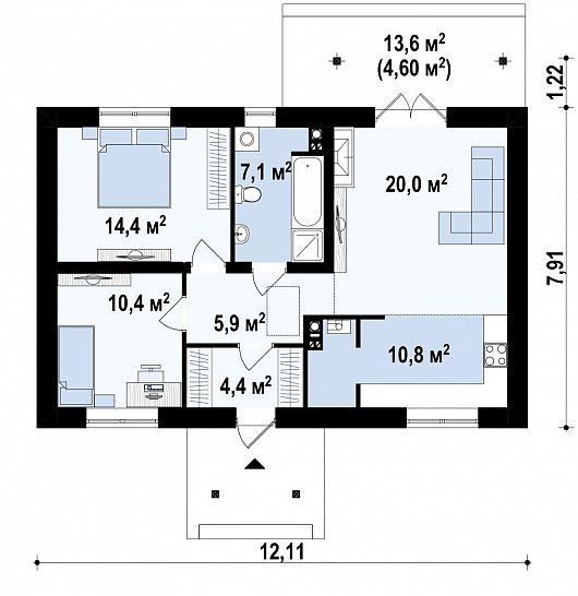 Первый этаж 77,6м² дома Z72