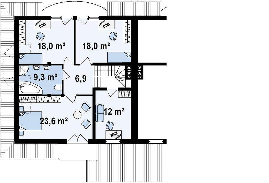 Второй этаж 89,2 м² дома Zb1