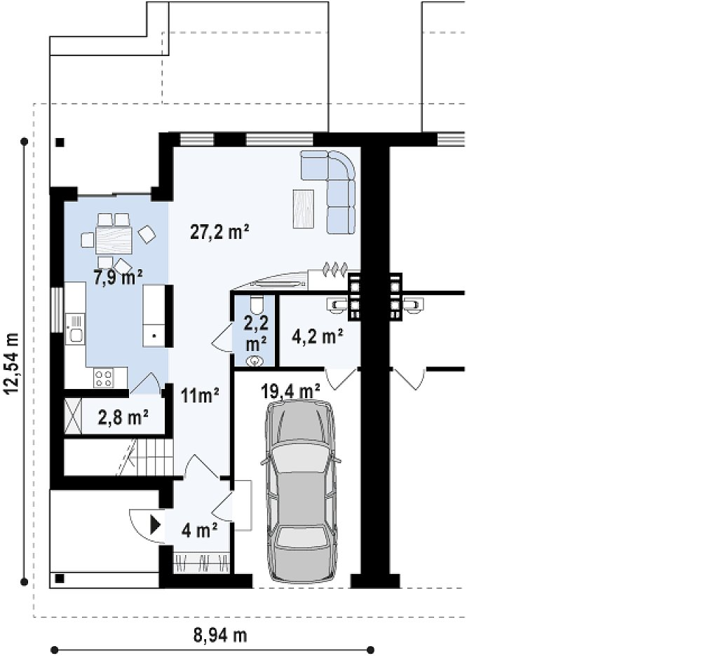 Первый этаж 78,0 м² дома Zb12
