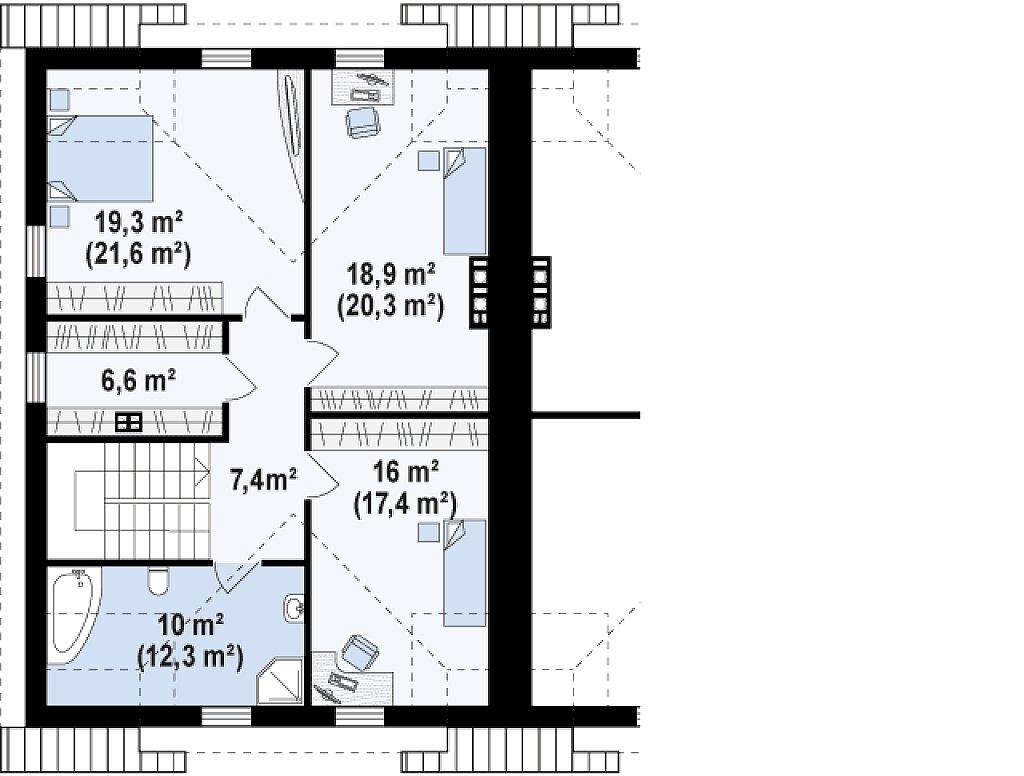 Второй этаж 85,2 м² дома Zb12