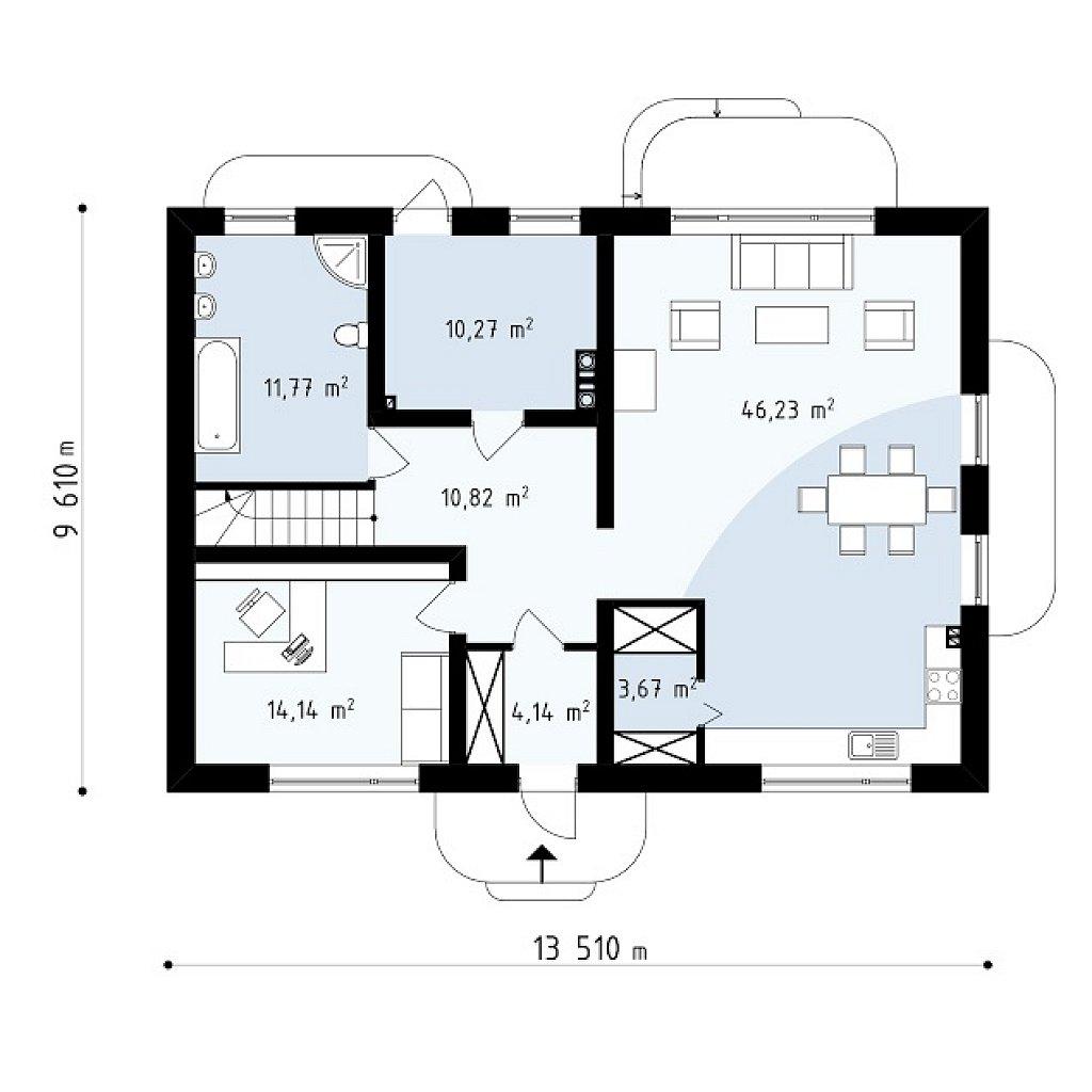 Первый этаж 101,0 м² дома Zx11 v2