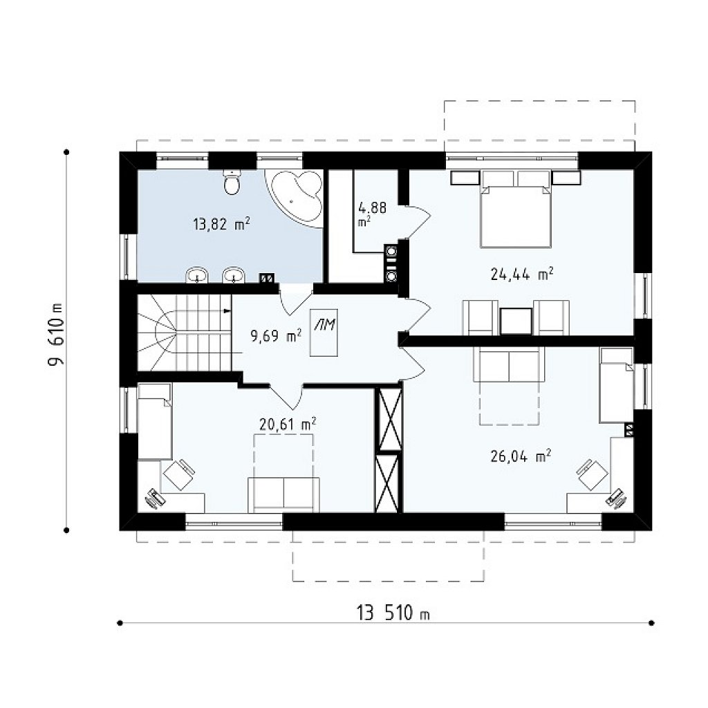 Второй этаж 99,5 м² дома Zx11 v2