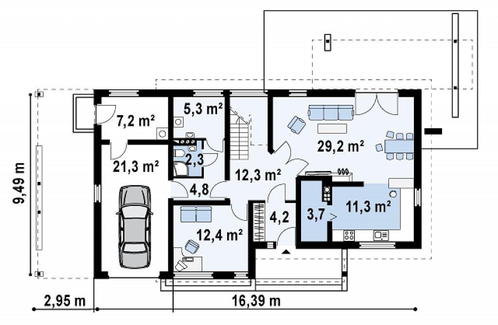 Первый этаж 114,0 м² дома Zx6