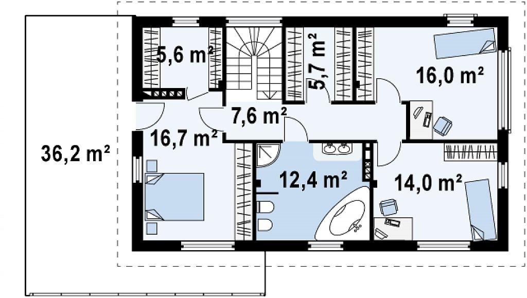 Второй этаж 78,0 м² дома Zx6