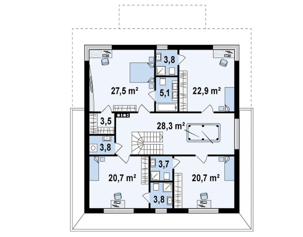 Второй этаж 143,9 м² дома Zx66