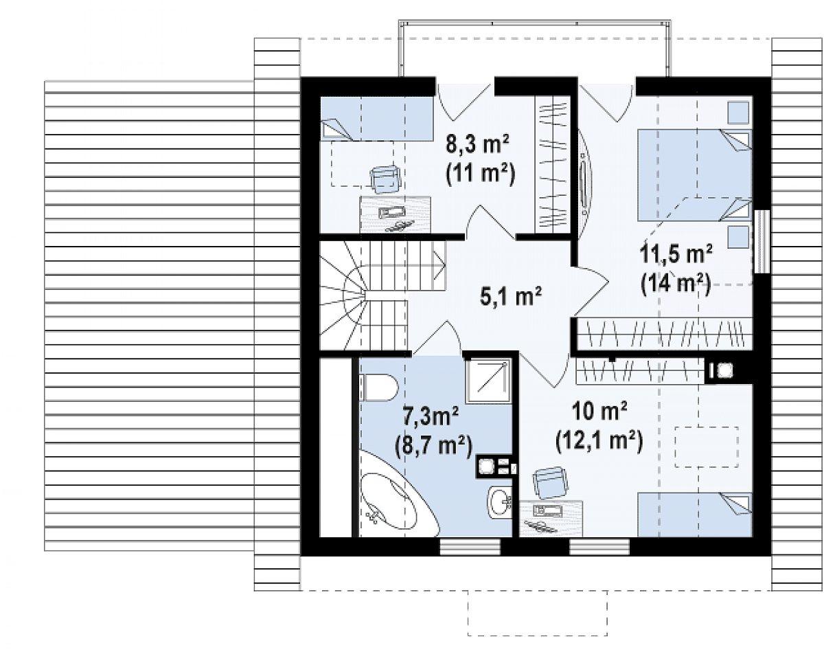Второй этаж 38,4(52,1м²) дома Z1 GL