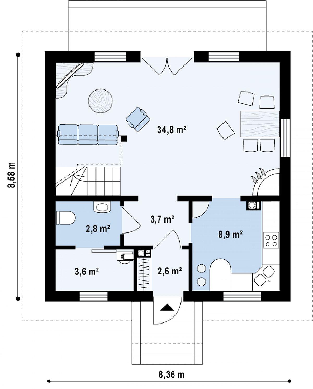 Первый этаж 57,0м² дома Z1 bl