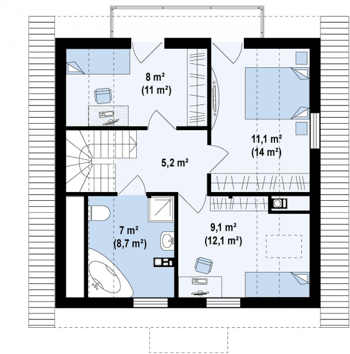 Второй этаж 38,1(51,4м²) дома Z1 bl