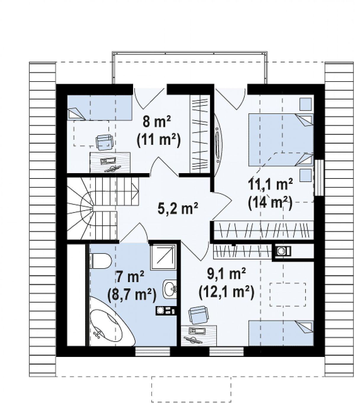 Второй этаж 41,0(51,0м²) дома Z1 k