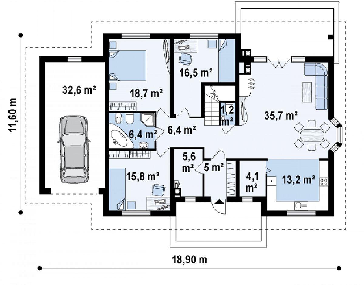 Первый этаж 135,8(168,4м²) дома Z10 D sdu GL