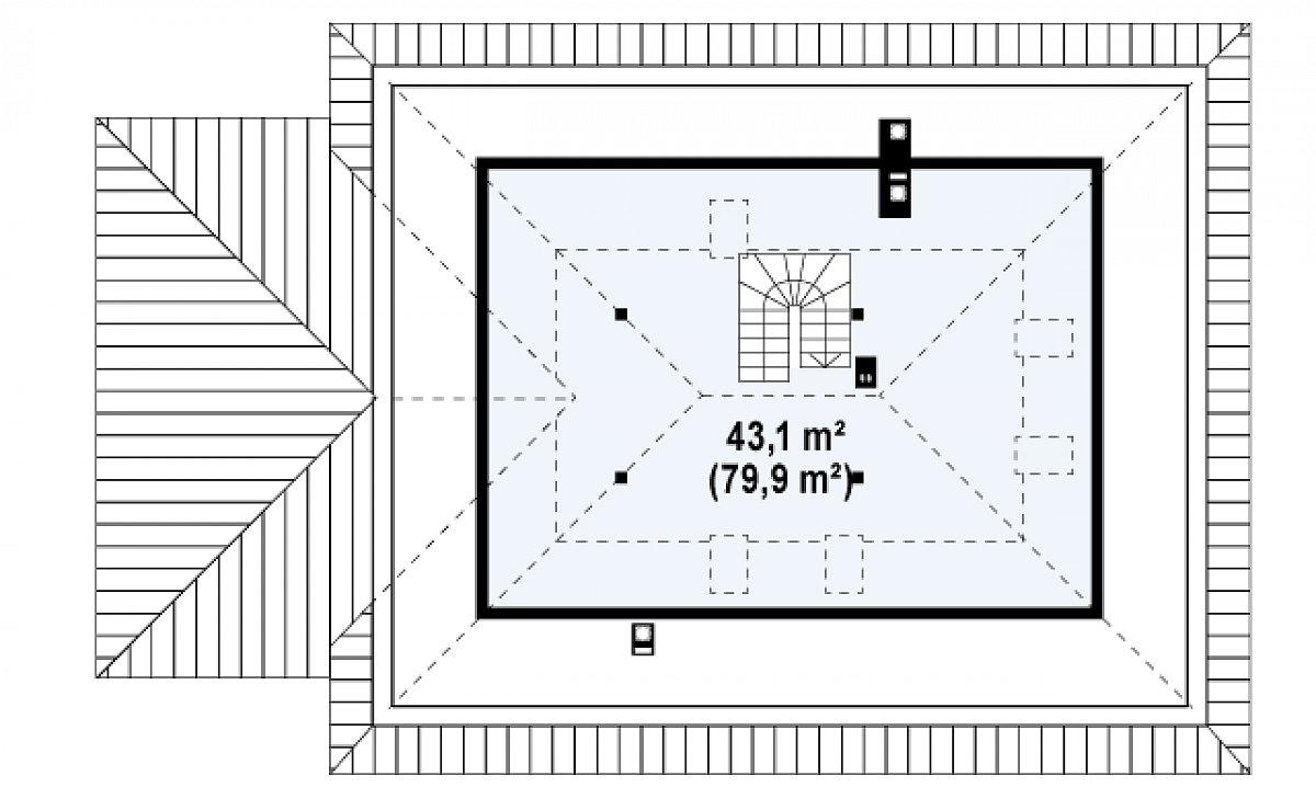 Второй этаж 43,1(80,0м²) дома Z10 D sdu GL