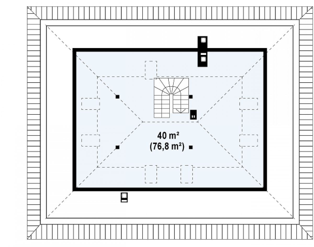 Второй этаж 40,0(76,8м²) дома Z10 D sdu