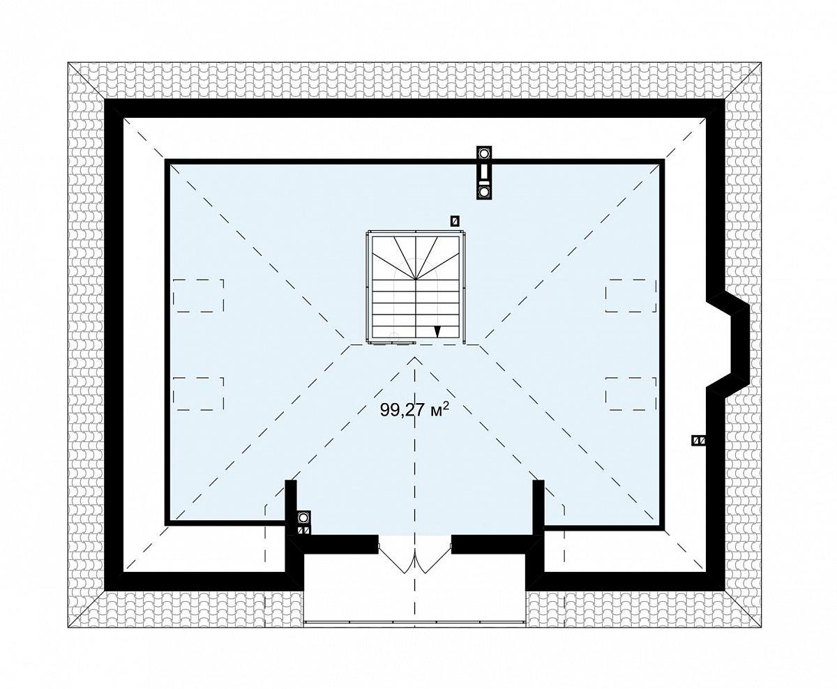 Второй этаж 99,3 м² дома Z10 stu bk