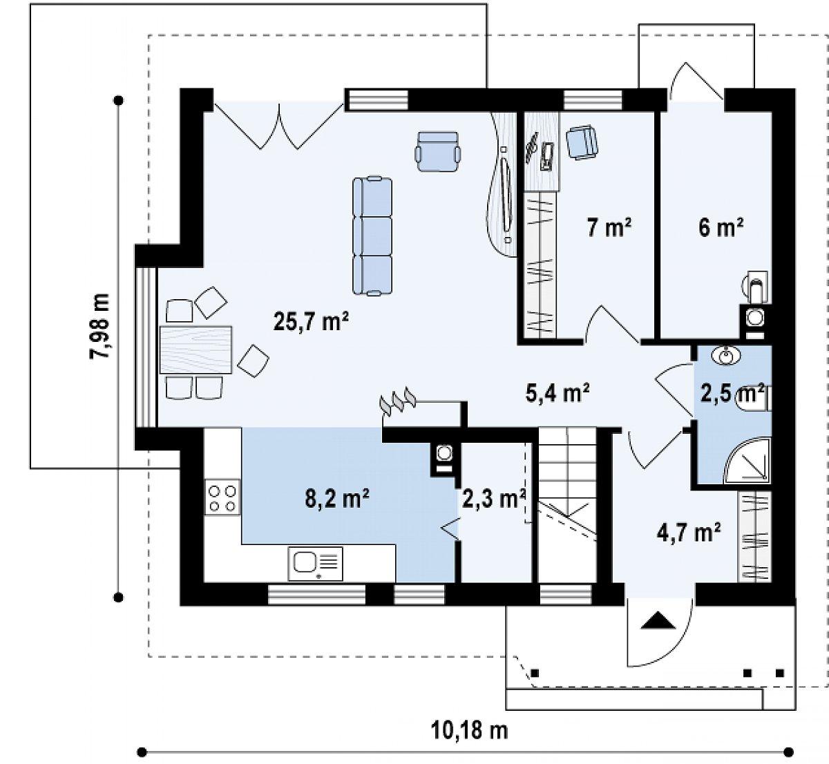 Первый этаж 61,7 м² дома Z101 L h+