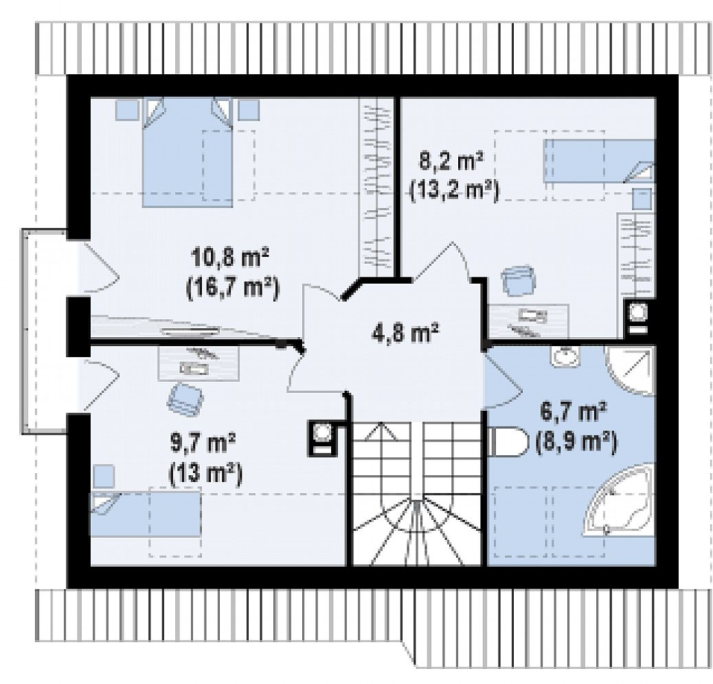 Второй этаж 36,9(56,8м²) дома Z101 L h+