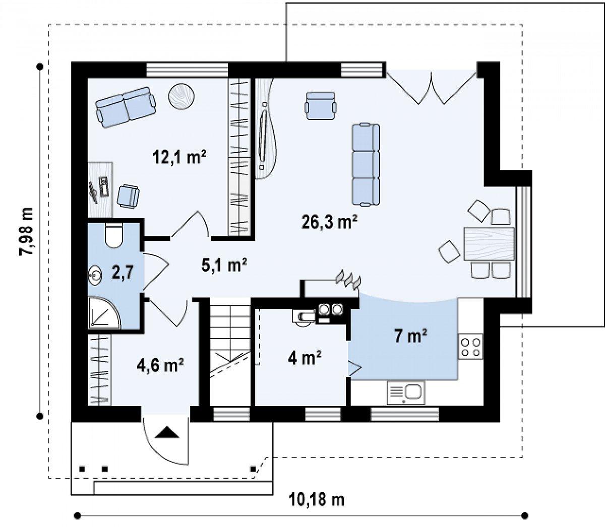 Первый этаж 61,8 м² дома Z101