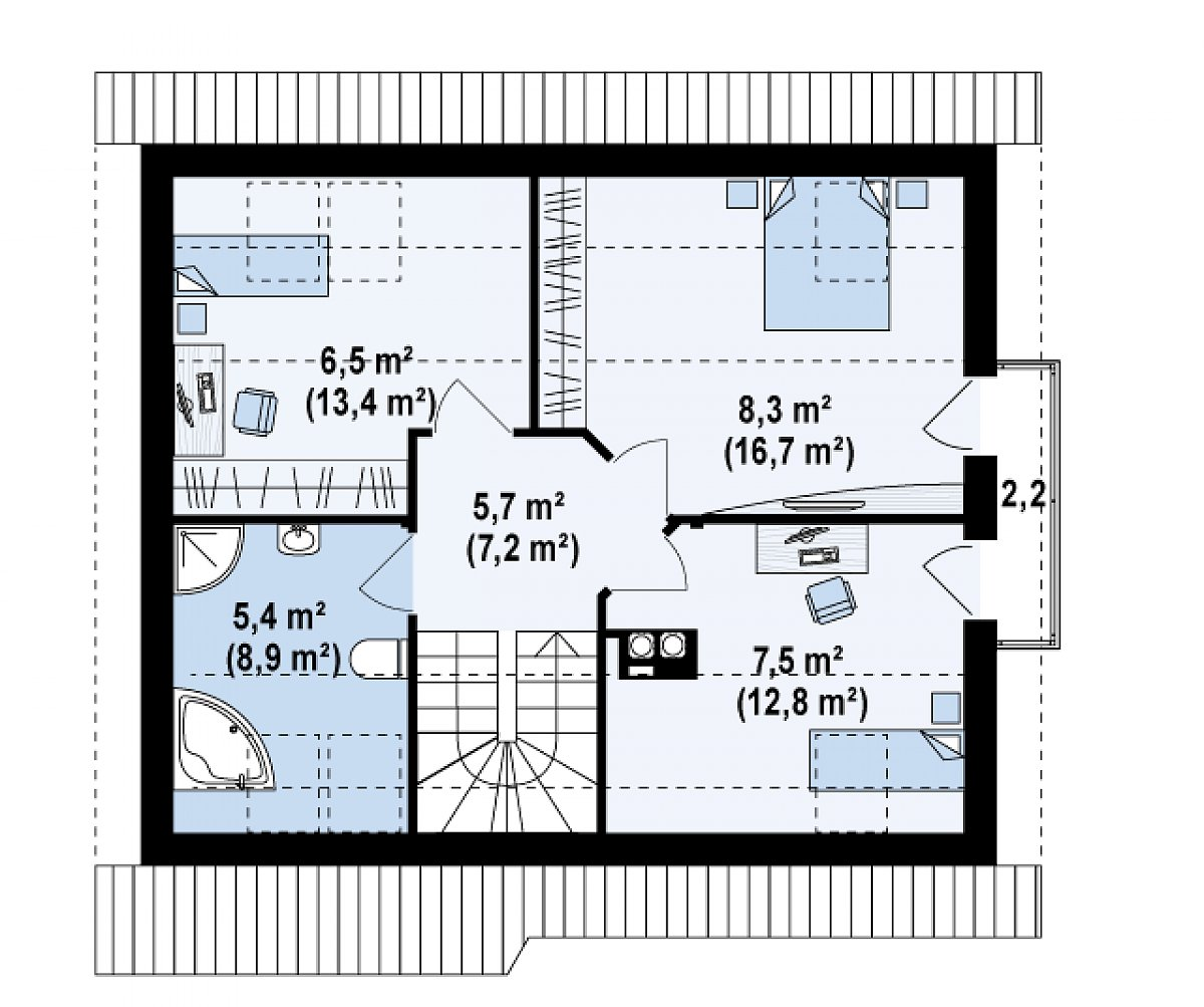 Второй этаж 34,3 (56,7м²) дома Z101