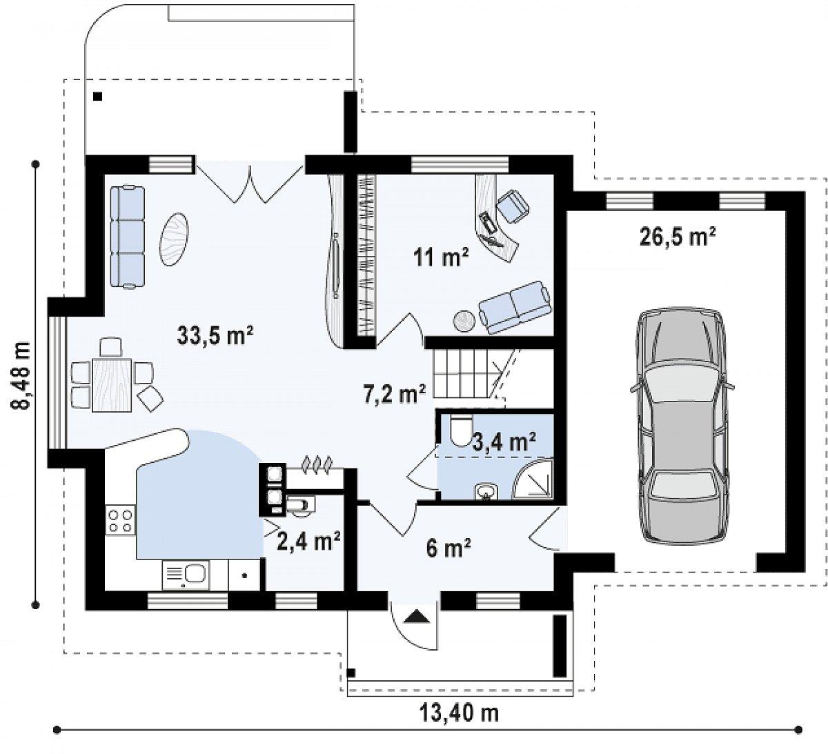 Первый этаж 63,6(90,2м²) дома Z102 GP