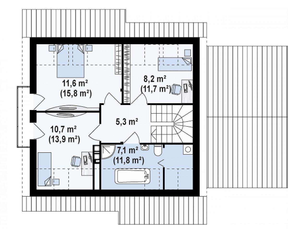 Второй этаж 40,7 (58,5м²) дома Z102 GP