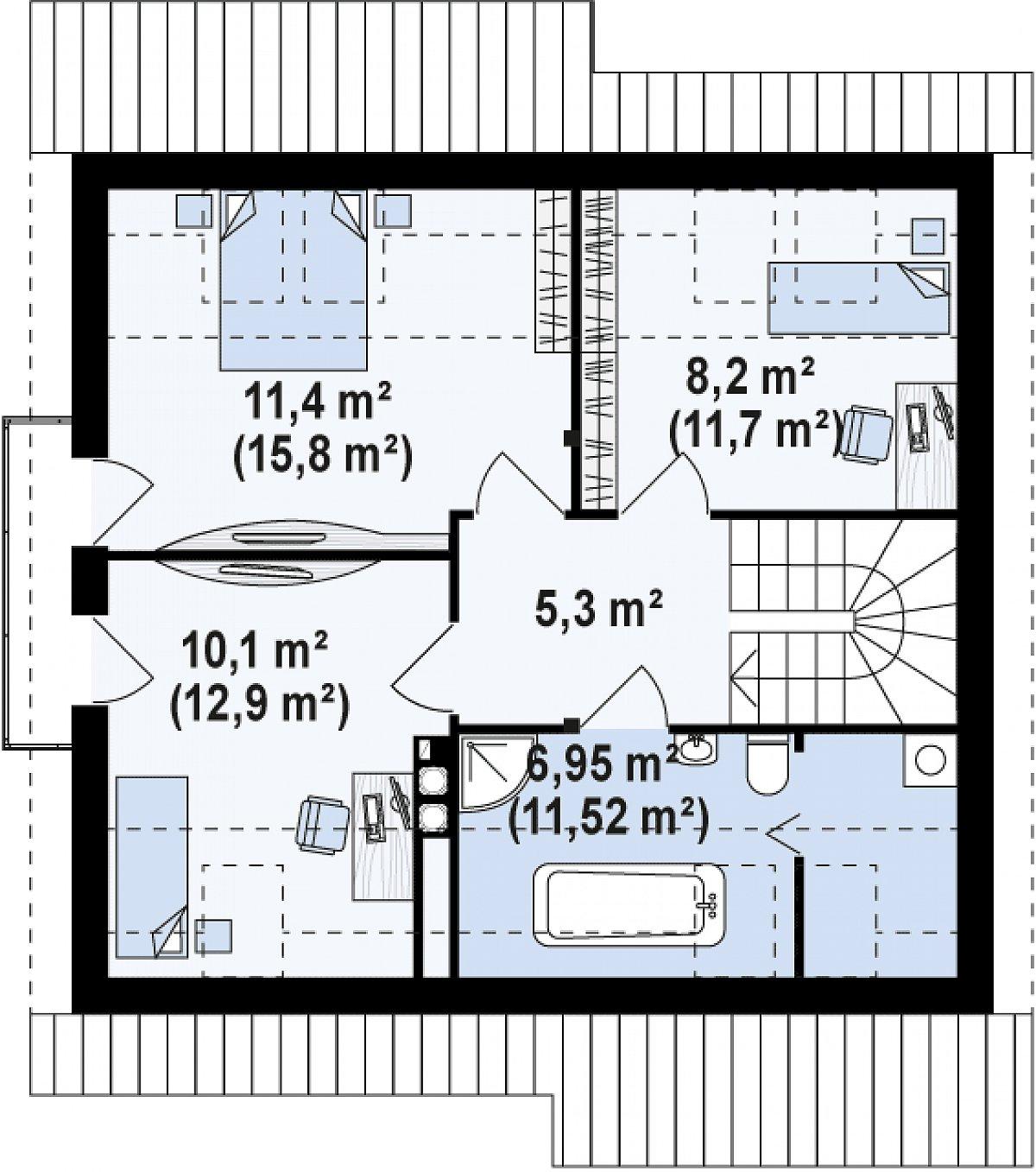 Второй этаж 42,1(57,5м²) дома Z102