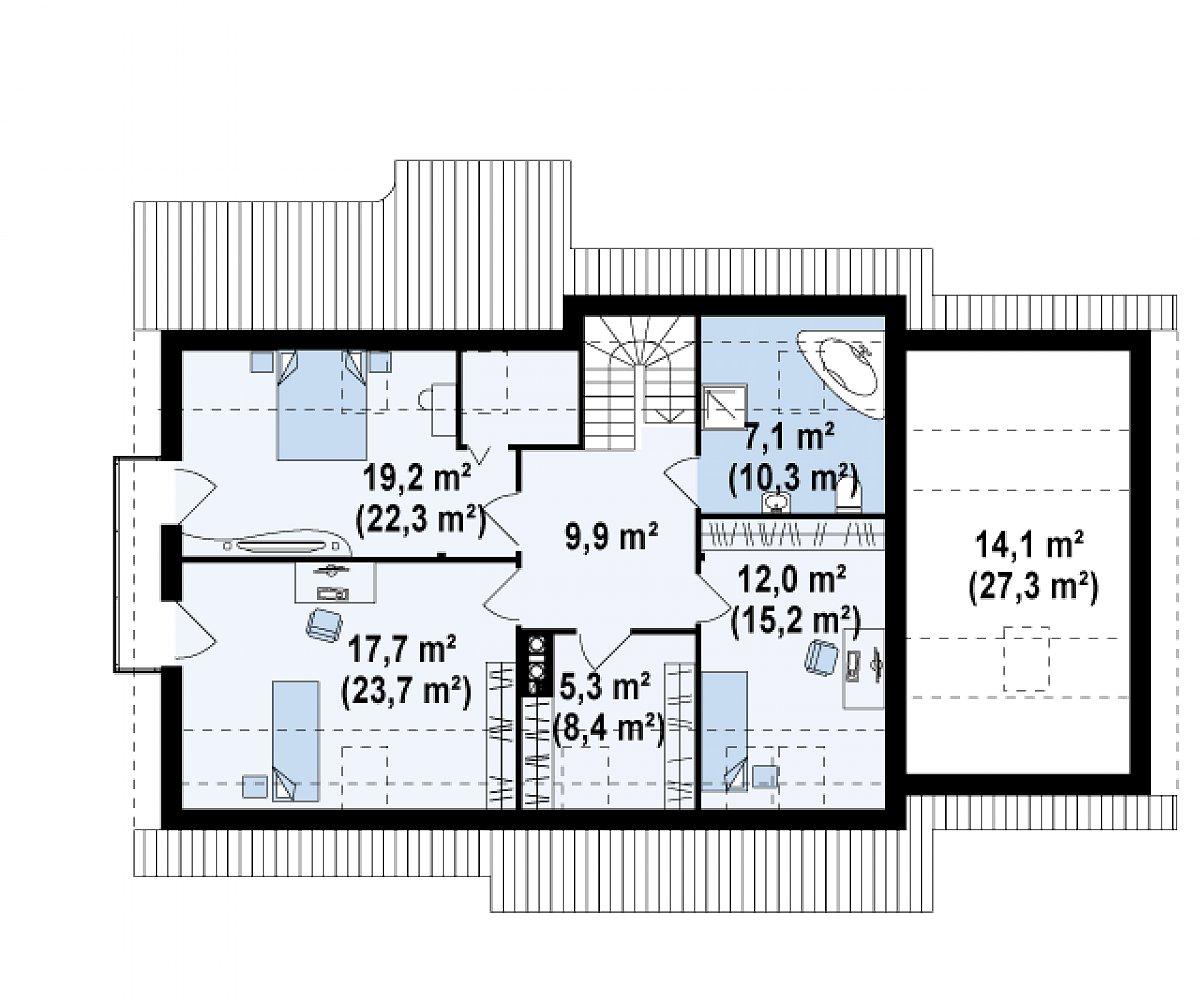 Второй этаж 74,3(95,0м²) дома Z103