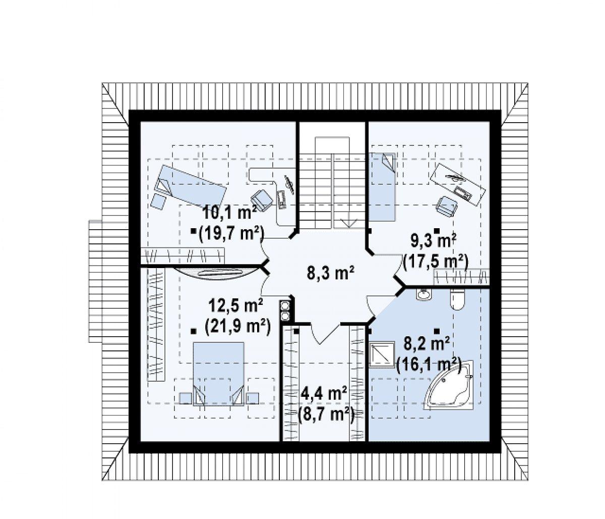Второй этаж 52,7(92,2м²) дома Z104
