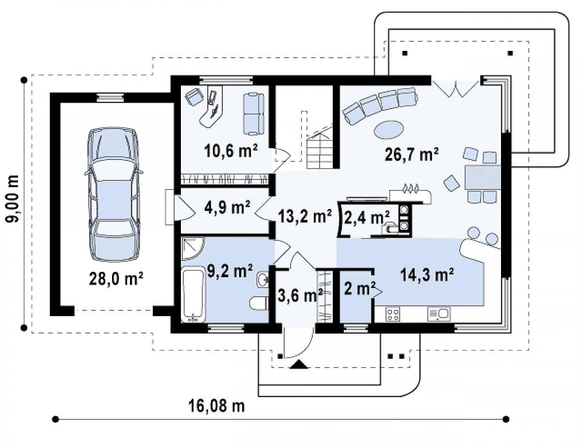 Первый этаж 86,6(114,7м²) дома Z105