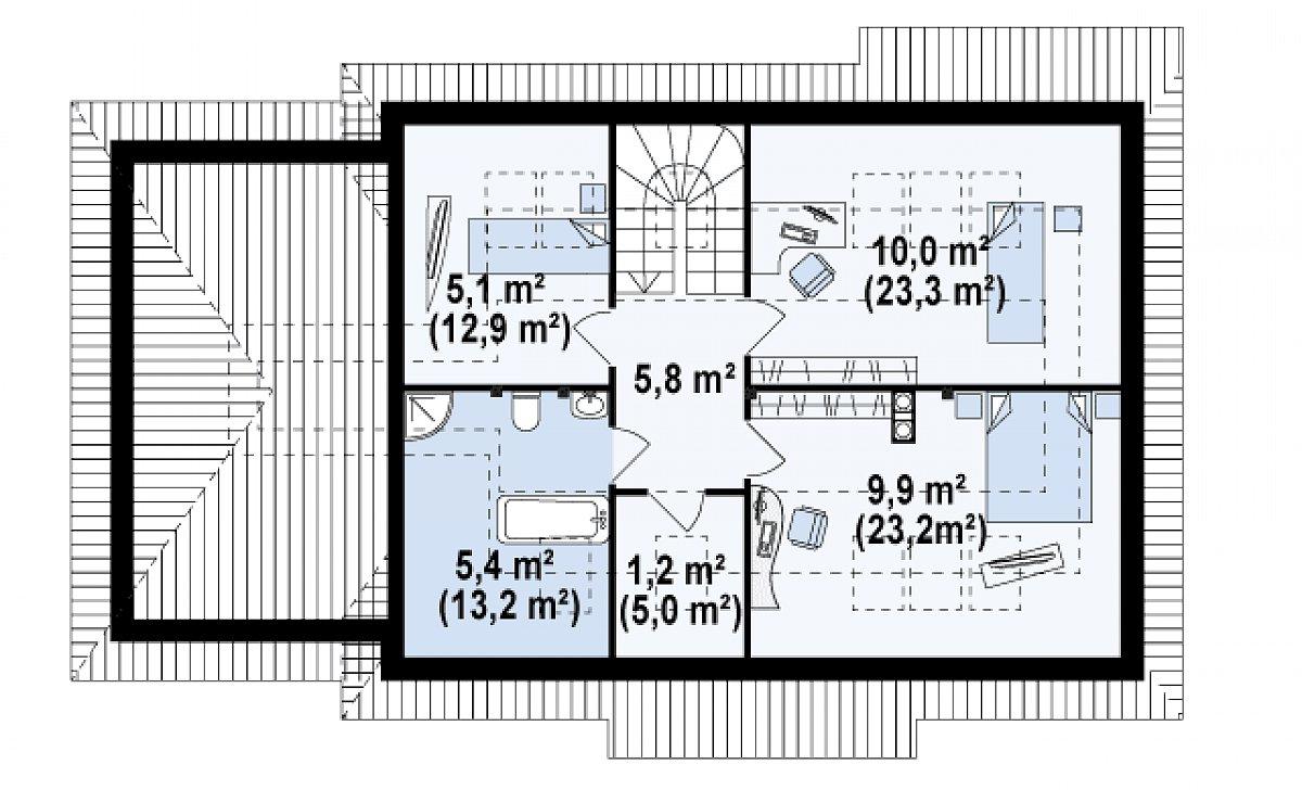 Второй этаж 37,3(83,5м²) дома Z105