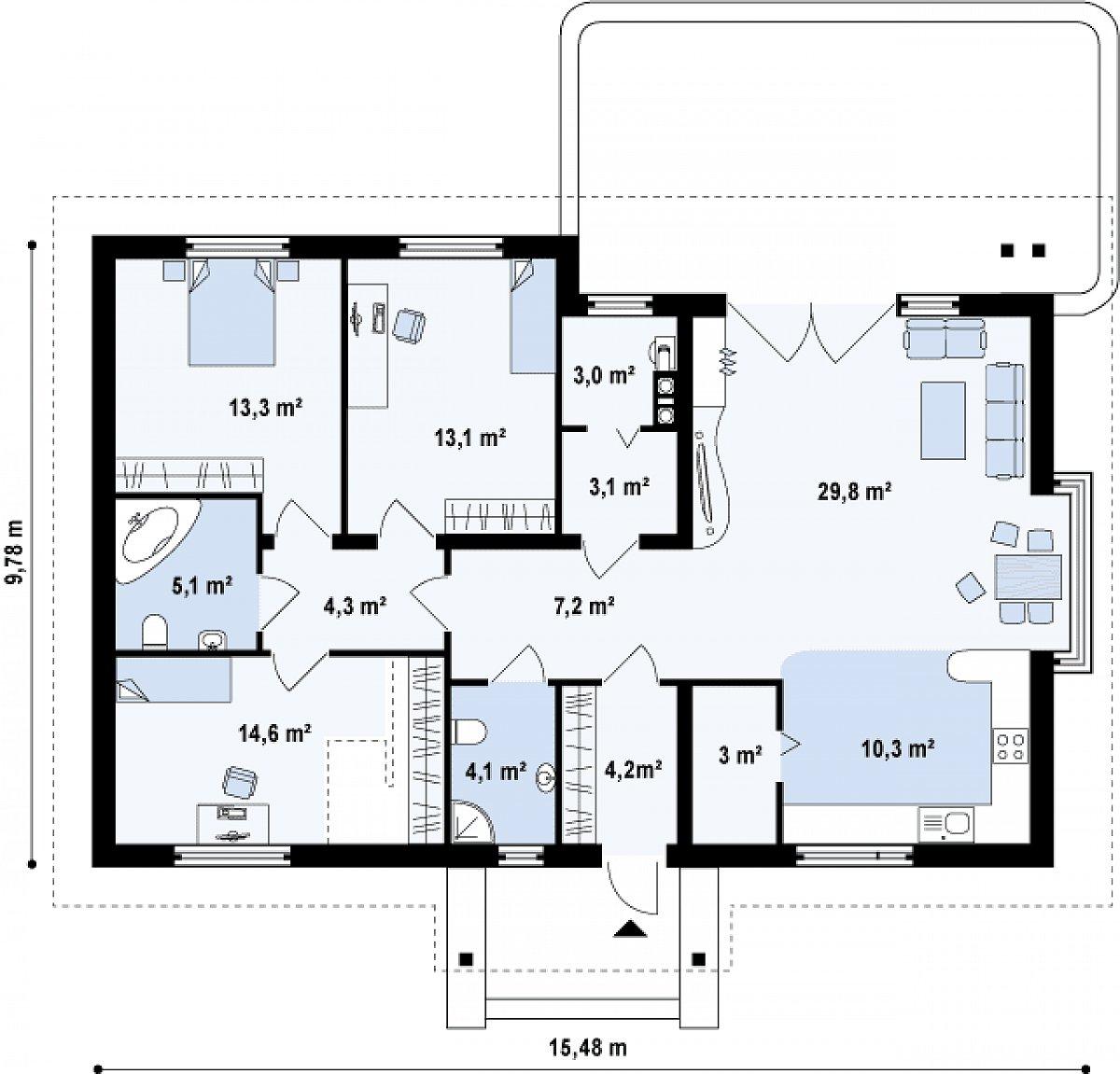 Первый этаж 112,3 м² дома Z106