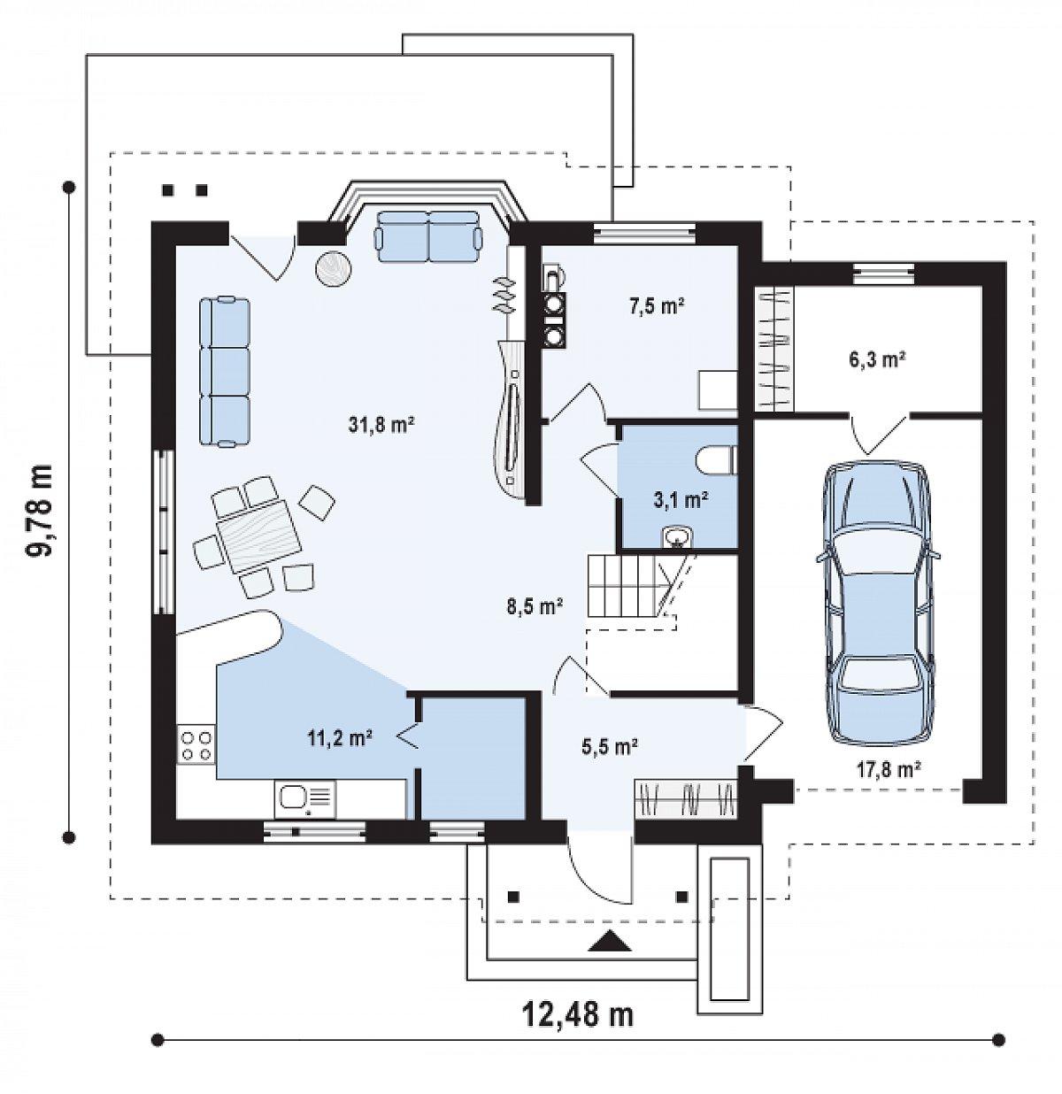 Первый этаж 67,6(91,6м²) дома Z107