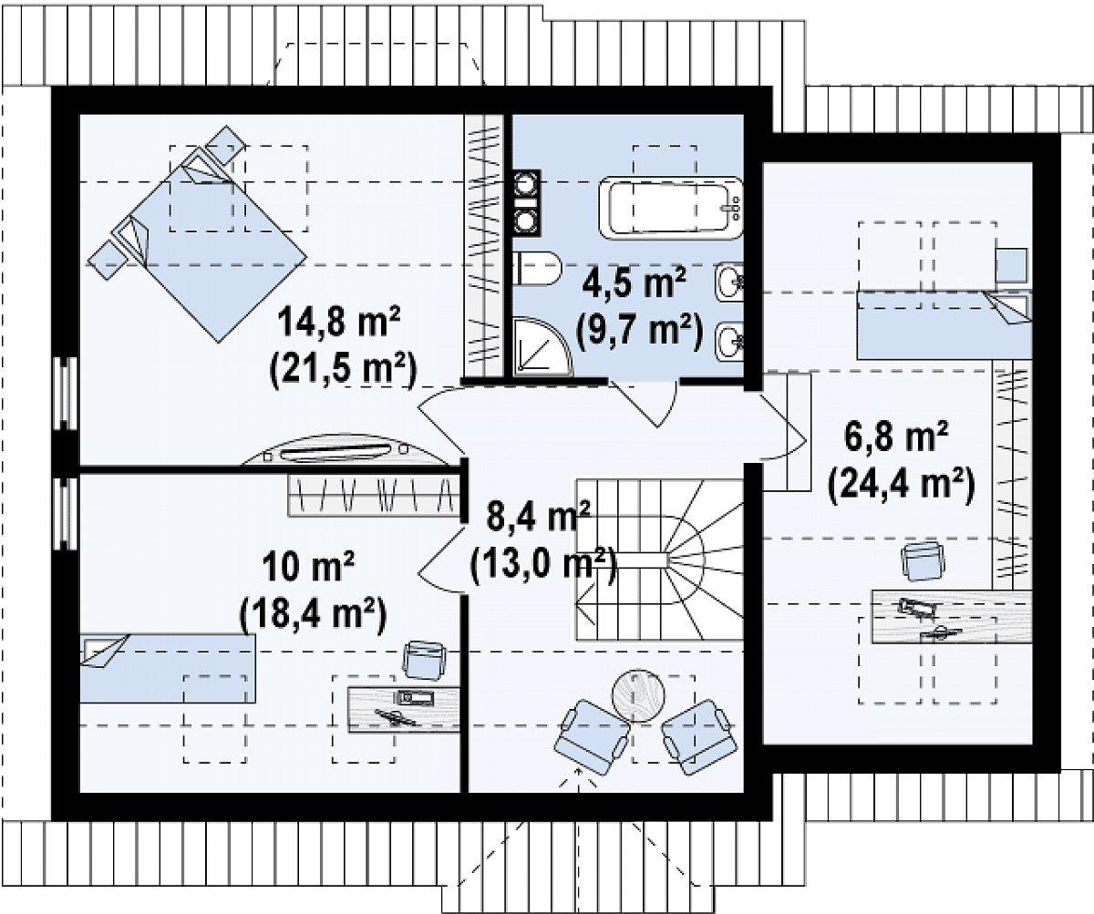 Второй этаж 51,2(87,0м²) дома Z107