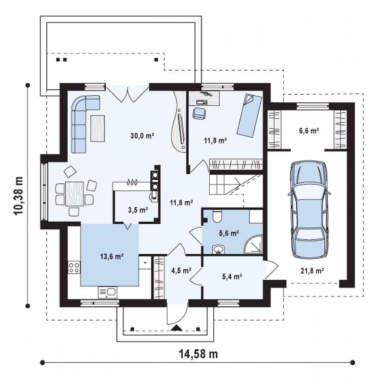 Первый этаж 86,2(114,6м²) дома Z108