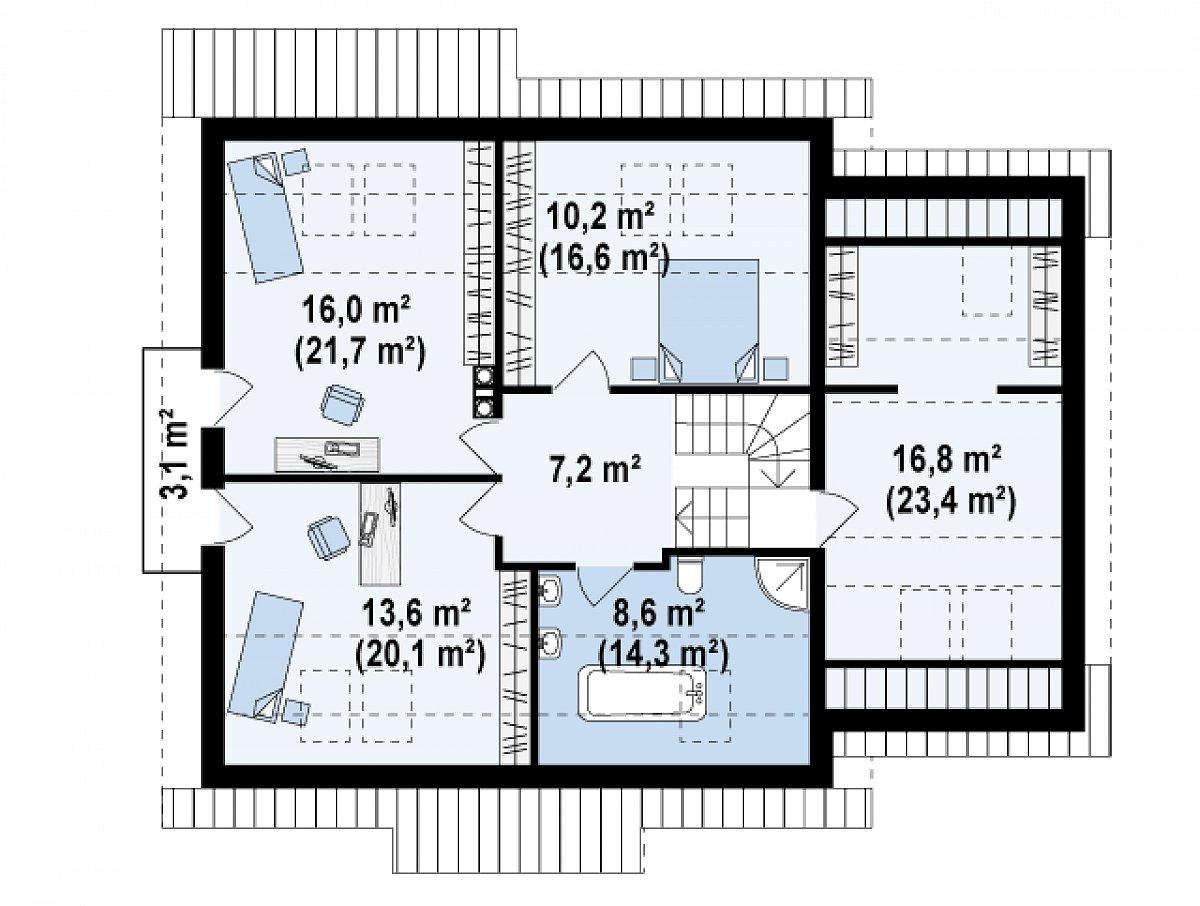 Второй этаж 72,3(103,2м²) дома Z108
