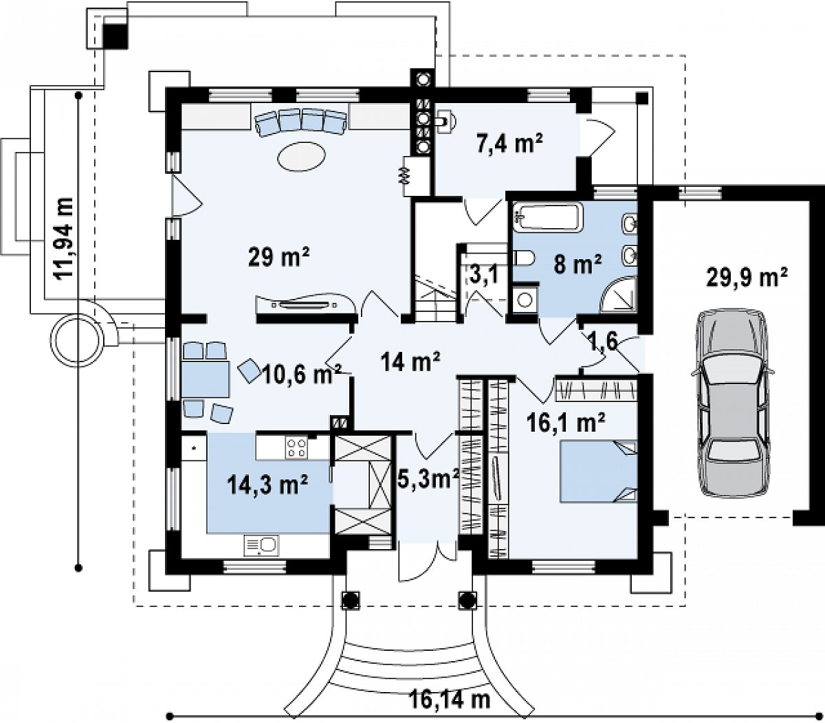 Первый этаж 109,4(139,3м²) дома Z109