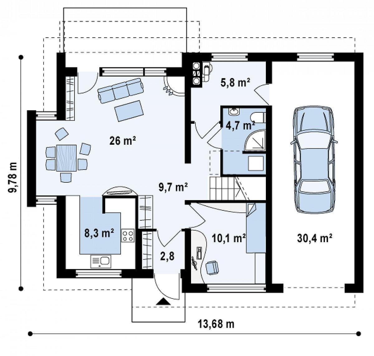 Первый этаж 67,4(97,8м²) дома Z110