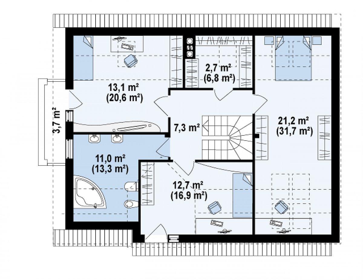 Второй этаж 68,0(96,5м²) дома Z110