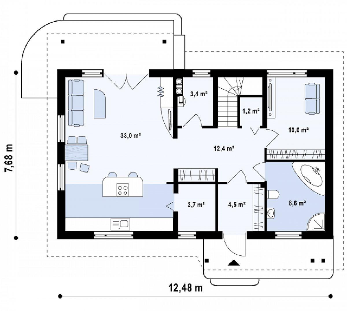 Первый этаж 76,8 м² дома Z111