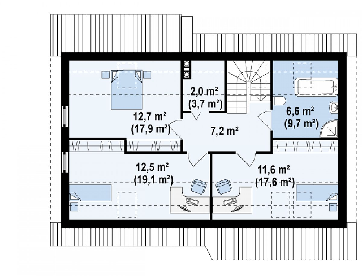 Второй этаж 52,5(77,2м²) дома Z111