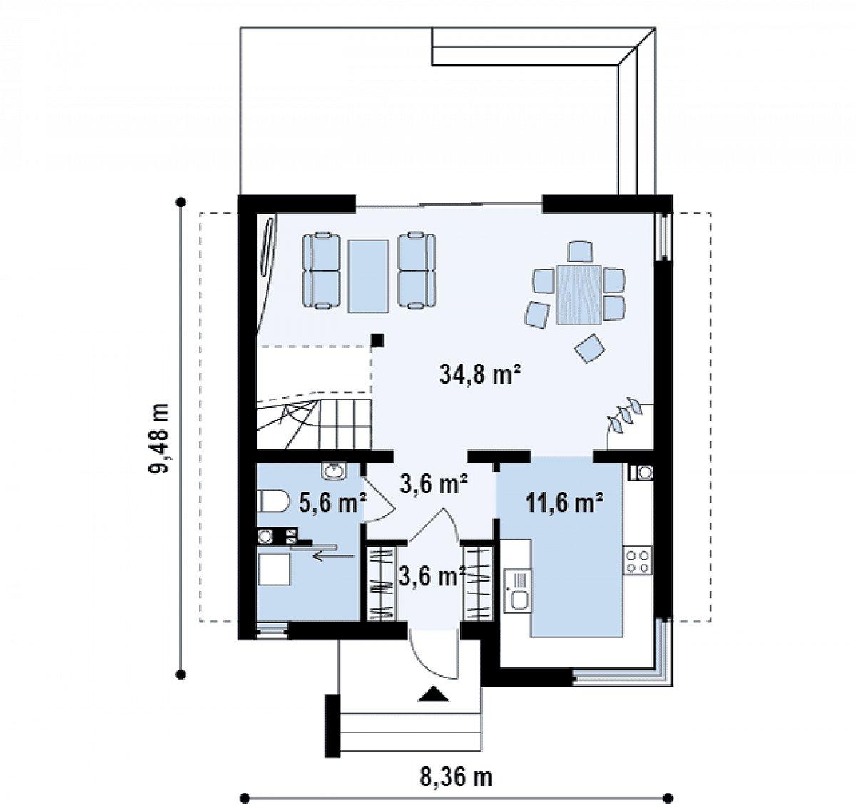 Первый этаж 59,2 м² дома Z112