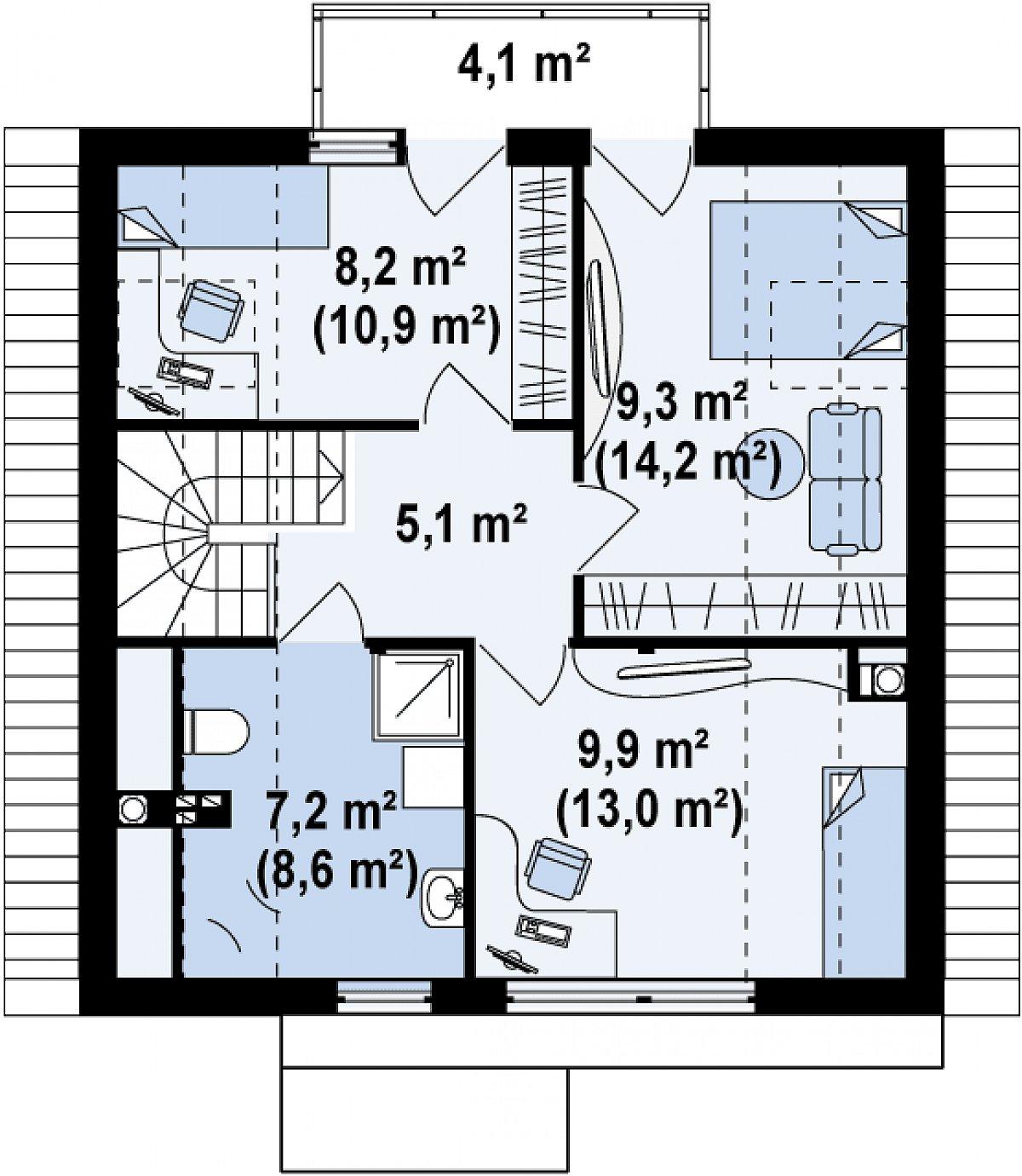 Второй этаж 39,6(51,8м²) дома Z112