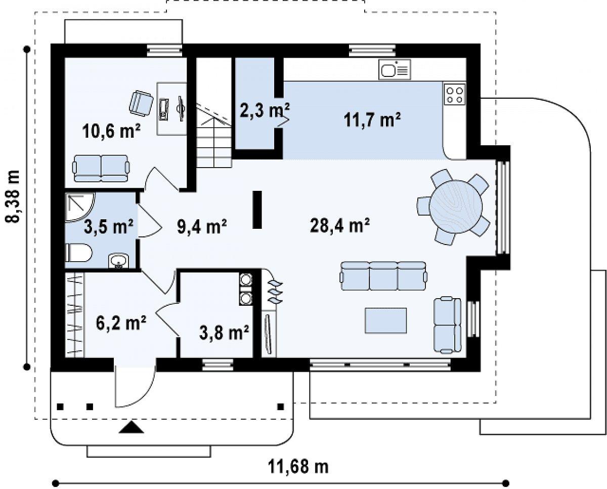 Первый этаж 75,8 м² дома Z113