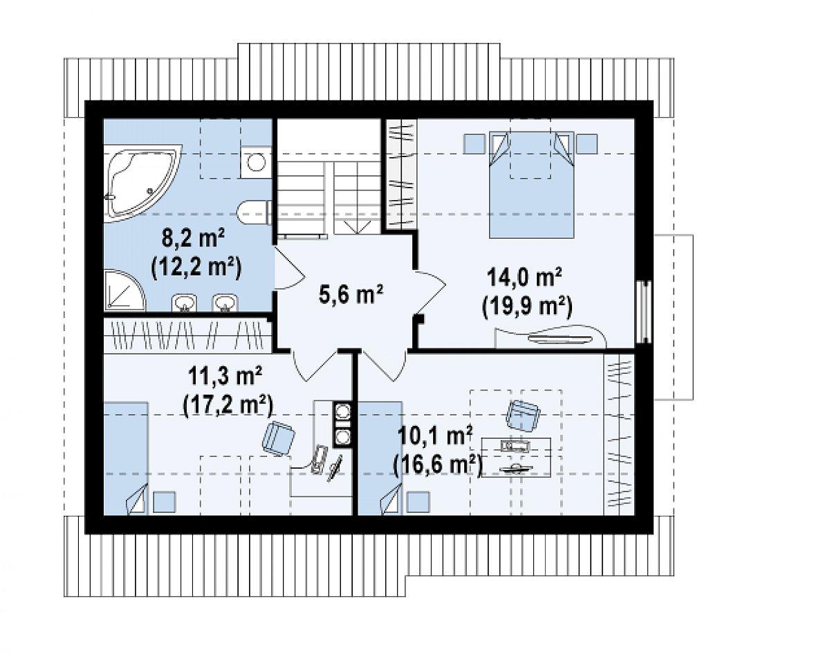 Второй этаж 49,2(71,4м²) дома Z113